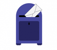 Graphic of an envelope going into a mailbox
