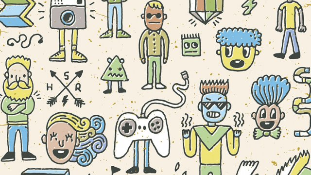 A variety of wacky illustrated characters including a video game controller with legs.