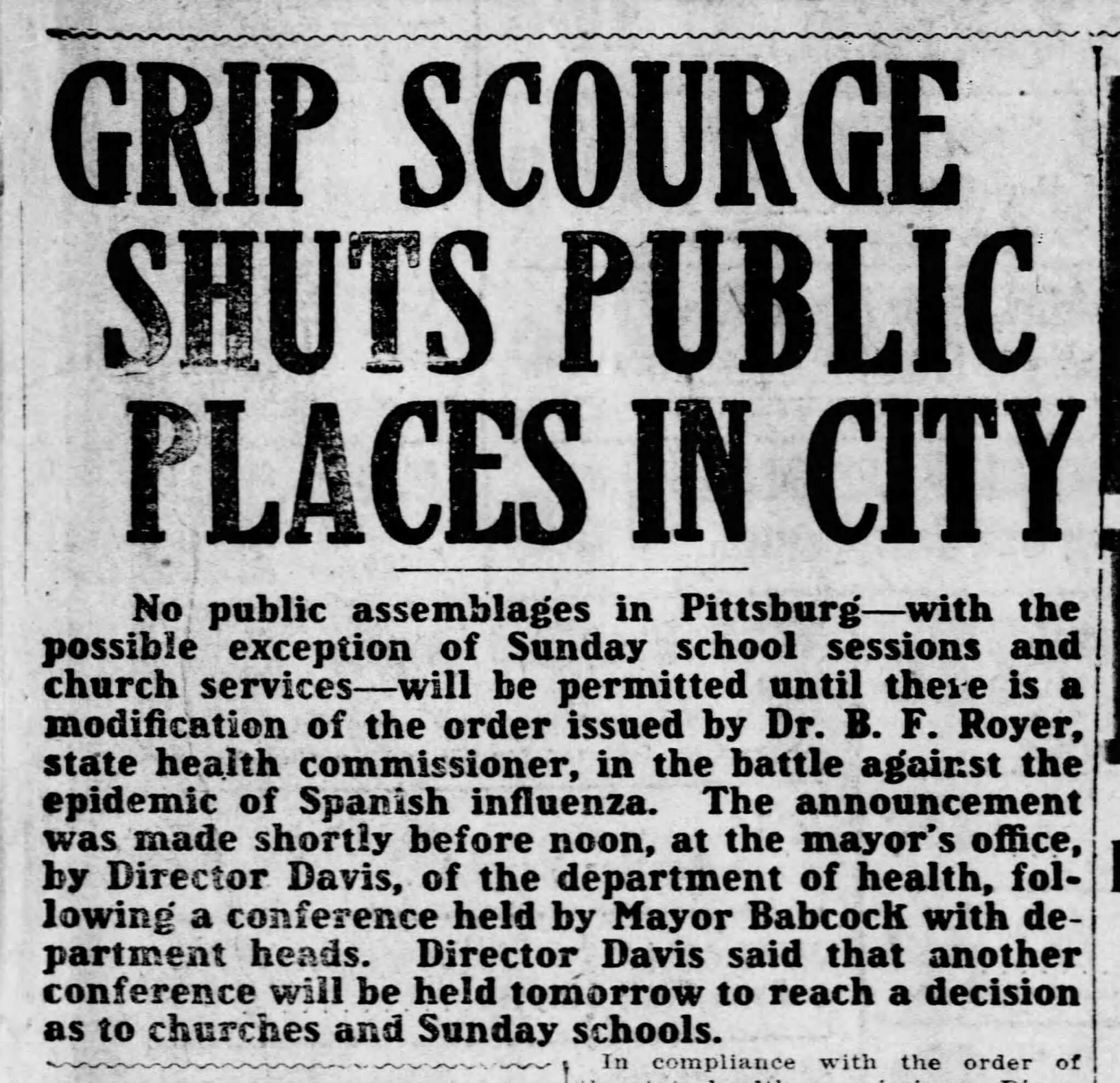 Grip Scourge Shuts Public Places in City