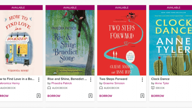 Libby icons for several e-books and audiobooks. Titles are: How To Find Love in a Bookshop by Veronica Henry, Rise and Shine Benedict Stone by Phaedra Patrick, Two Steps Forward by Graeme Simsion and Anne Buist, and Clock Dance by Anne Tyler.