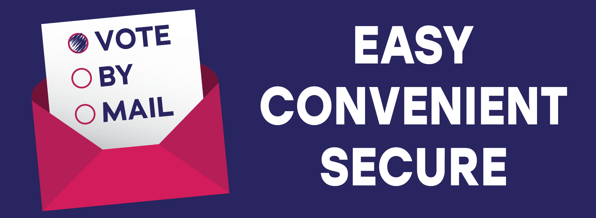 """Vote by mail graphic with the words """"easy, convenient, secure."""""""