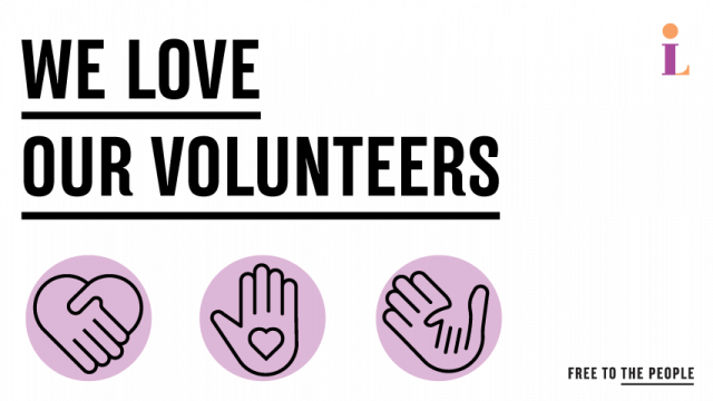 """Text reading """"We Love Our Volunteers"""" above multiple graphics of helping hands."""