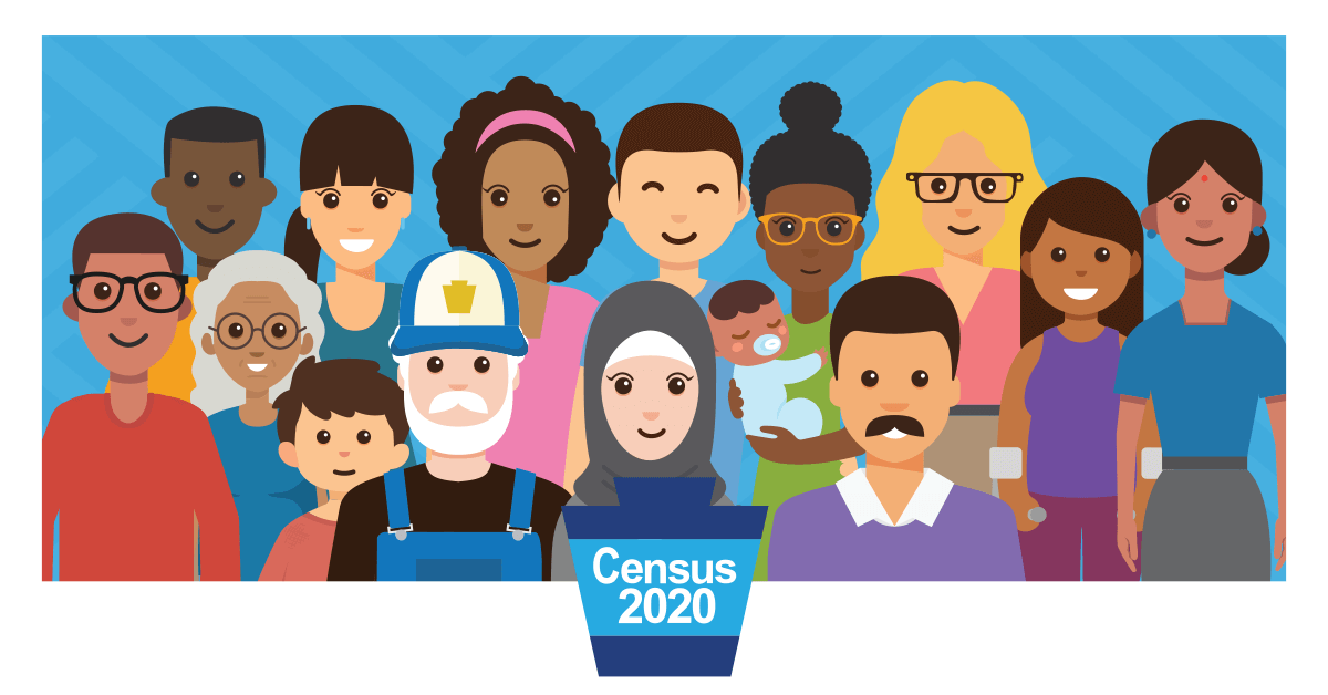 Graphic of a group of people with the 2020 census logo