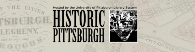 Logo for Historic Pittsburgh featuring an archived aerial view of the downtown point.
