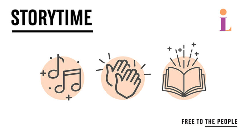 Text: Storytime with clip art of musical notes, hands clapping, and an open book