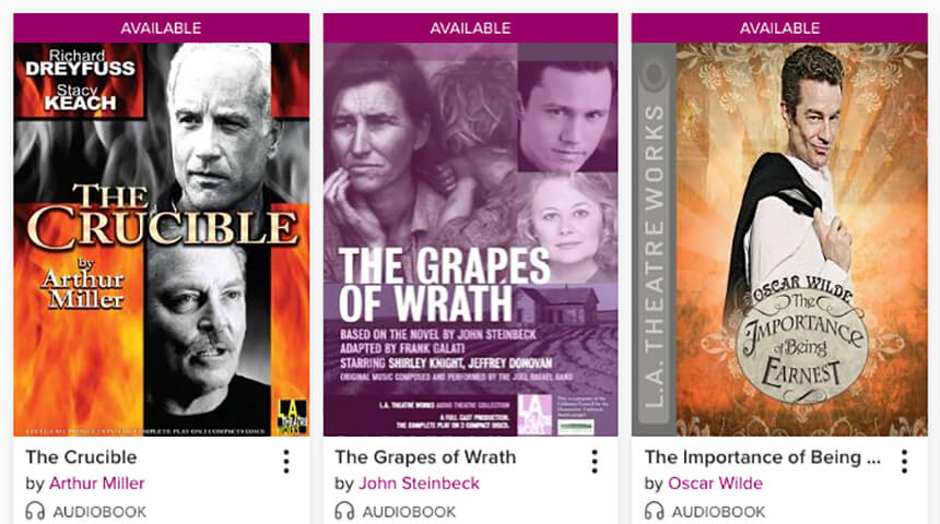 Screenshot of classic titles to download as audiobooks on OverDrive.