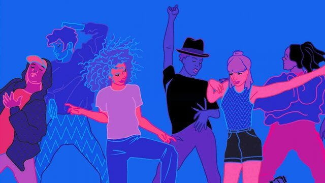 Book cover of Six young adults dance in a club