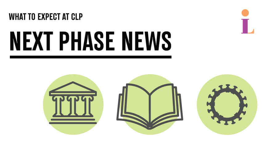 """Text reading """"What to expect at CLP: Next Phase News"""" with library and covid illustrations."""