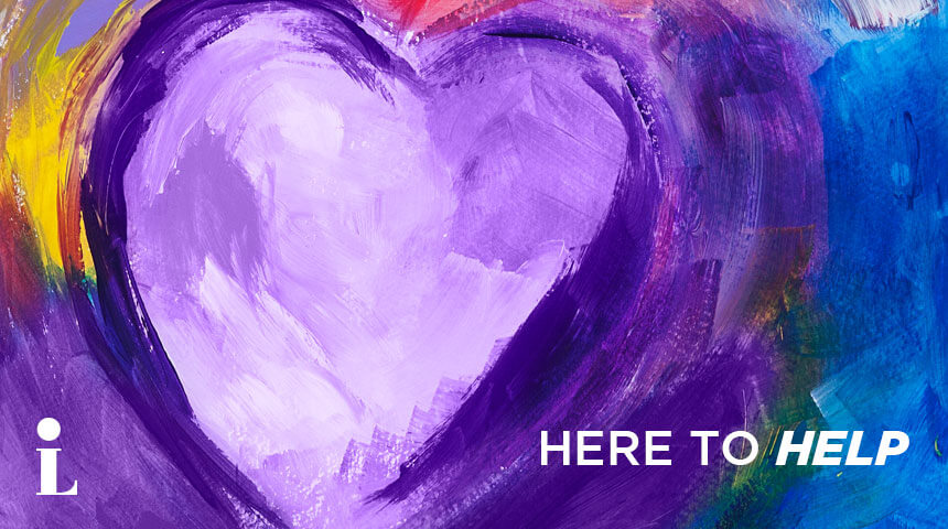 "painterly image of a purple hear with the words ""Here to Help"""