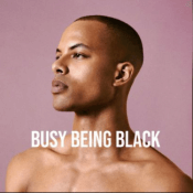 The logo of the podcast, featuring a Black person against a pink background, looking to the left.