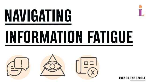 Navigating Information Fatigue text with information illustrations