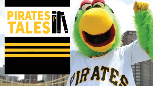 The Pirate Parrot, the mascot for the Pittsburgh Pirates baseball team, cheers next to the Pirates Tales logo.