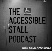 logo of the show, a picture of a bathroom stall that is accessible to wheelchair users.