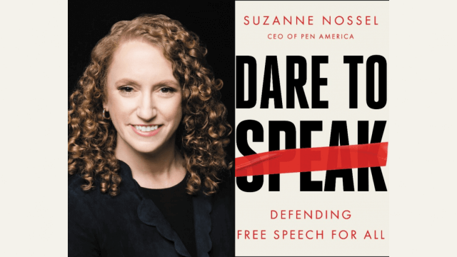 "Cover art for ""Dare to Speak"" by Suzanne Nossel with photo of author positioned left."