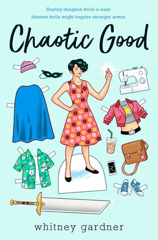 """Cover art for the book, """"Chaotic Good"""" depicts a young person in a dress surrounded by clothes and accessories."""