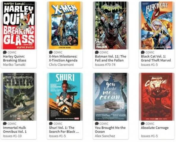 Various comic book covers displayed on Hoopla.