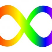 logo of the show, a gradient rainbow colored infinity symbol.