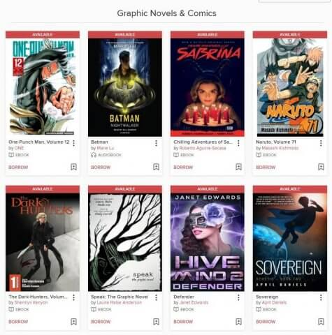 Various book covers displayed on Overdrive's Teen page.