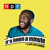 Logo of the show with NPR logo and colorized photo illustration of the host.