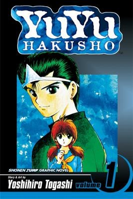 Cover art for the book, YuYu Hakusho depicts two characters one big, one small.