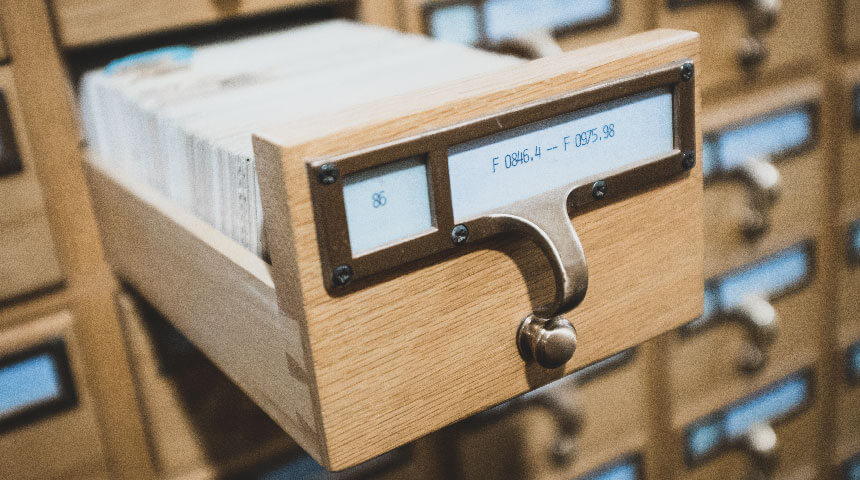 Library card catalog drawer labeled for Library of Congress classification