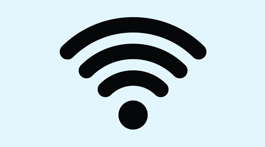 Image of a WiFi Icon with a small dot at the bottom and 3 increasingly large curved lines above the dot.