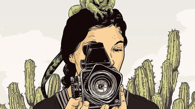 Animated picture of teen standing in front of cacti using a camera while a lizard is on their head