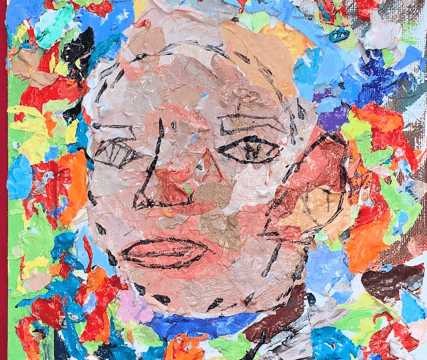 Decoupage art depicting a human face with a multicolored background