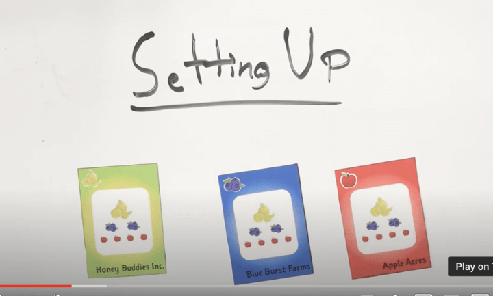 """A still from the tutorial of the submitter's game invention. The image shows text that reads """"Setting Up"""" and below the text are three playing cards in a row, the first one is green with pictures of fruit on it and reads """"Honey Buddies Inc.,"""" the middle card is blue with pictures of fruit on it and reads """"Blue Burst Farms,"""" and the last card is red with pictures of fruit on it and reads """"Apple Acres"""""""