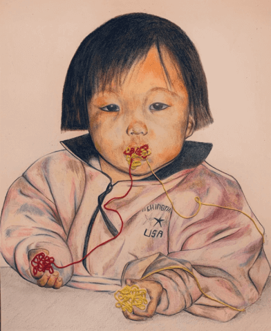 Drawing of a young girl with a mixed ball of red and yellow yarn in her mouth. The yarn is coming out of her mouth in two separate strings. In her left hand, she is collecting the red yarn and in her right hand, she is collecting the yellow yarn.