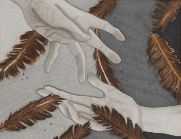 Drawing of two gray hands reaching toward each other. They are surrounded by brown feathers in the foreground and background.