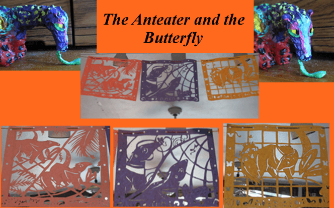 A collection of pictures featuring the submitted art. On the upper left and right corners are images of the same brightly colored 3D paper anteater at different angles. In the center is an image of three paper cutouts of an anteater and a butterfly. At the bottom are the same three images, but at a closer angle.