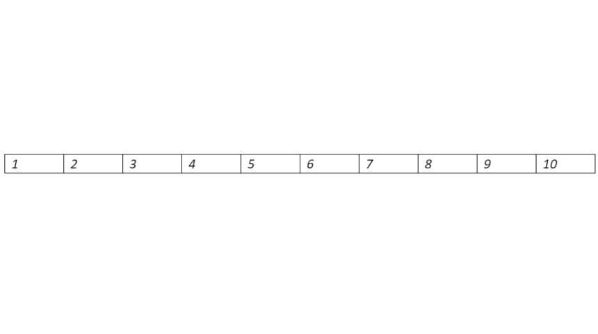 An example of an Excel row with 10 cells labeled numbers 1-10, each cell separated by a border.