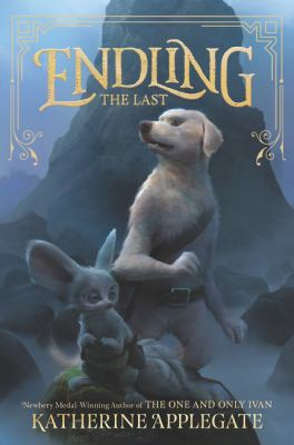 """Cover of the book """"Endling"""" shows a dog and mouse with packs standing in the rocky shadows."""