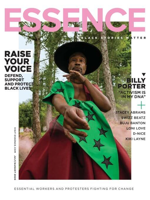 "Cover of the magazine ""Essence"" shows a person wearing a large hat and green sash with stars."