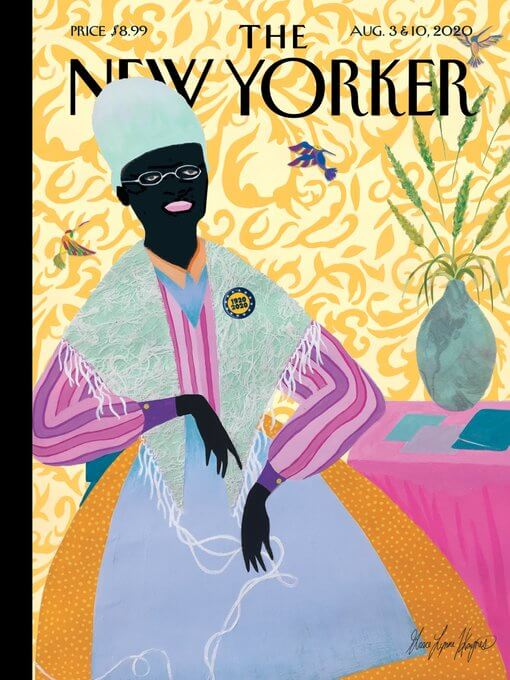 "Cover of the magazine ""The New Yorker"" shows a brightly colored illustration of Sojourner Truth sitting next to a table with a vase, surrounded by three hummingbirds."