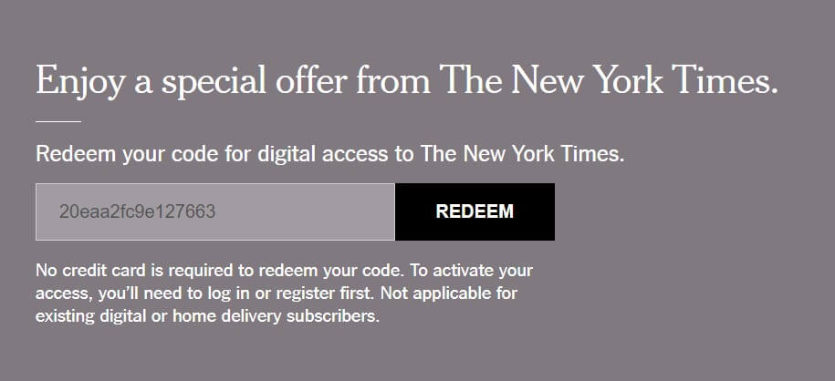 "A gray and white subscription box says, ""Enjoy a special offer from the New York Times"""