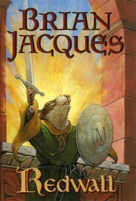 Book cover for Redwall shows a mouse in a green and gold cloak holding a sword and shield.