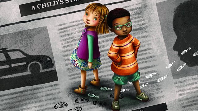 Book cover of Two children look up at the screen while standing on a newspaper