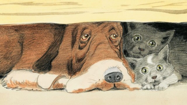 A colored pencil illustration of a brown hound dog and two gray kittens hideing underneath a wooden porch.