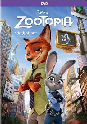The cover of the movie Zootopia shows a fox in a dress shirt and tie standing arms crossed with a rabbit wearing a police uniform. The animals are surrounded by a cityscape.