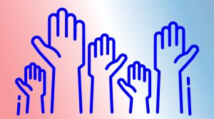Graphic of five raised hands on a red, white, and blue background