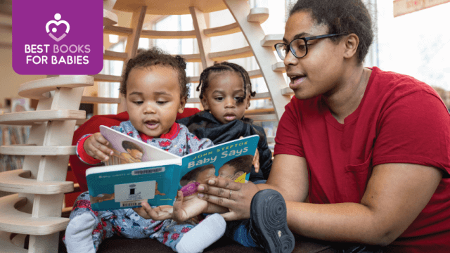 "Mother reads a library book to two young boys with ""Best Books for Babies"" logo in upper left hand corner."