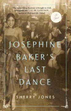 """The title, """"Josephine Baker's Last Dance"""" appears over a photograph of the dancer with partygoers in the background."""