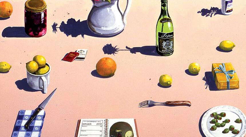 Detail from the Writers and Lovers book cover, still life of small everyday objects like silverware and fruit