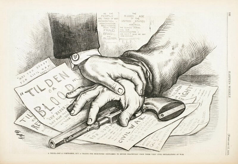 Political cartoon from Harper's Weekly showing two hands holding down a revolver