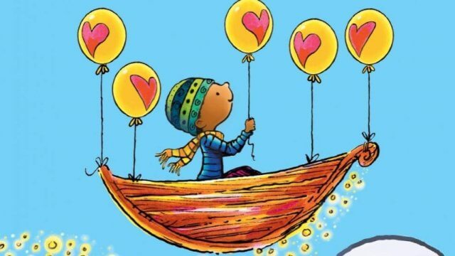 book cover featuring a child in a boat carried by yellow balloons