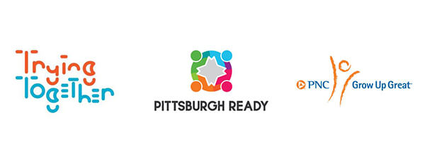 Color logos for Trying Together, Pittsburgh Ready and PNC Grow Up Great