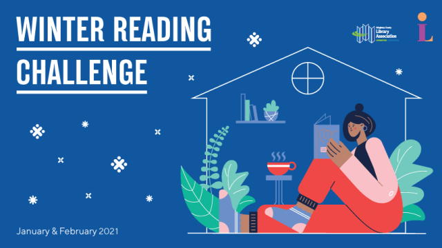 "The words, ""Winter Reading Challenge: January & February 2021"" appear next to an illustration of a person reading a book at home."