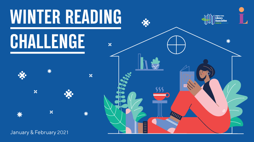 """The words, """"Winter Reading Challenge: January & February 2021"""" appear next to an illustration of a person reading a book at home."""